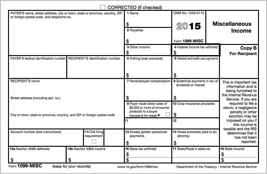 2015 Printable 1099 Tax Form Form Resume Examples