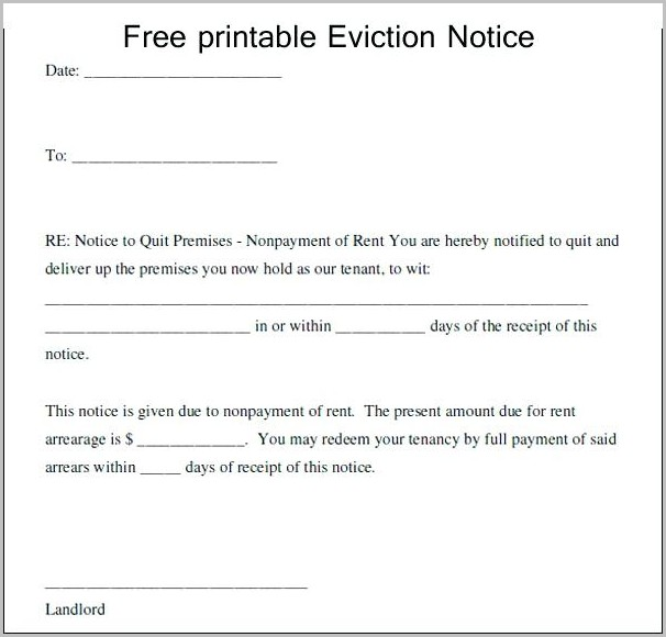 30 Day Eviction Notice Template Arizona