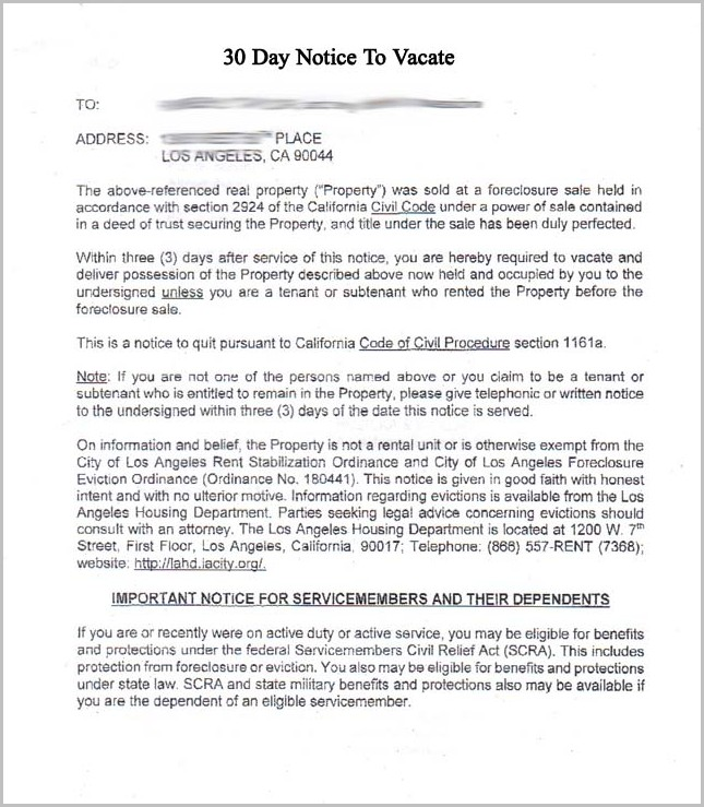 30 Day Eviction Notice Template Oregon