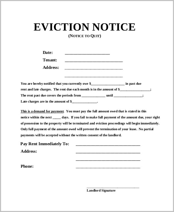 72 Hour Eviction Notice Template