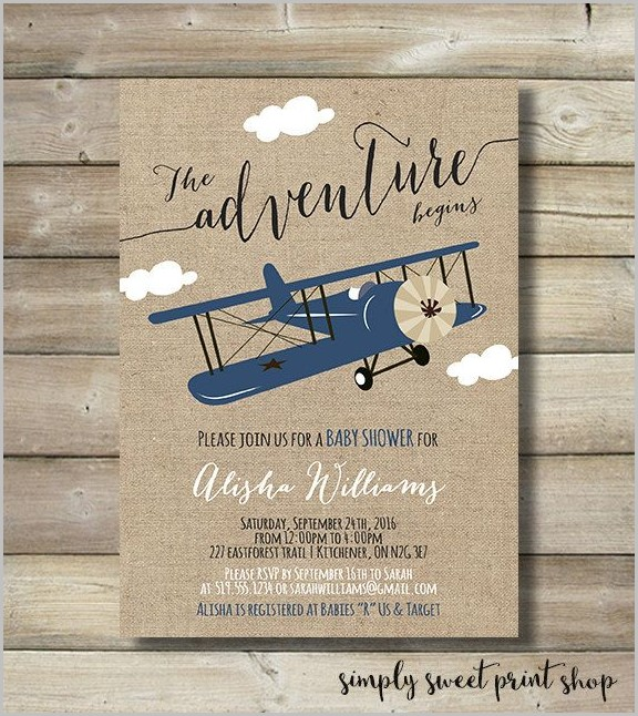 Airplane Baby Shower Invitation Templates Let The Adventure Begin