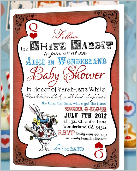 Alice In Wonderland Baby Shower Invitation Template