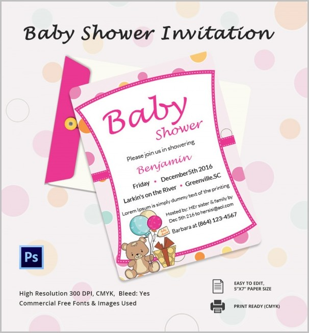 Baby Shower Invitation Template Publisher