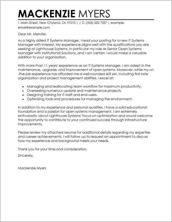 Best Sample Of Cover Letter For Resume