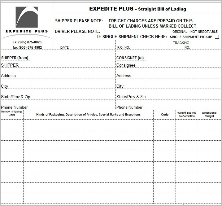 Bill Of Lading Format In Excel