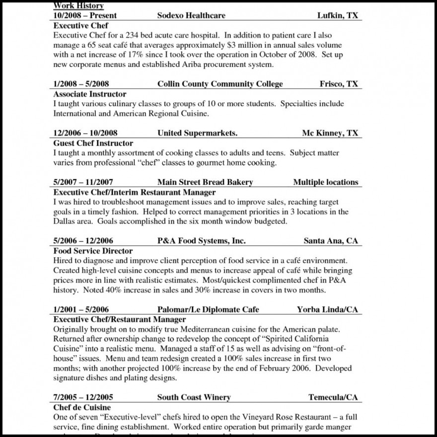 Sous Chef Resume Resumes Culinary Cover Letter Samples Regarding ...