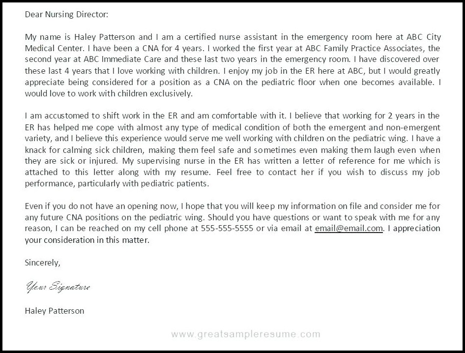 Cna Resume Cover Letter Template