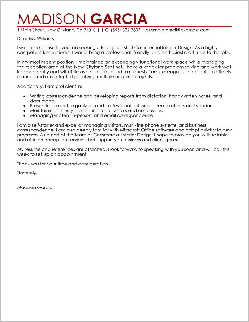 Cover Letter Template For Receptionist Job
