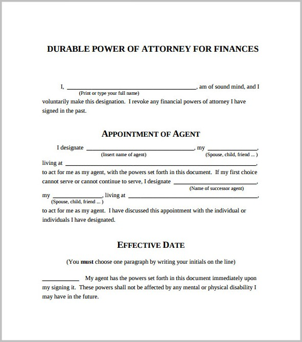 Durable Power Of Attorney Blank Form