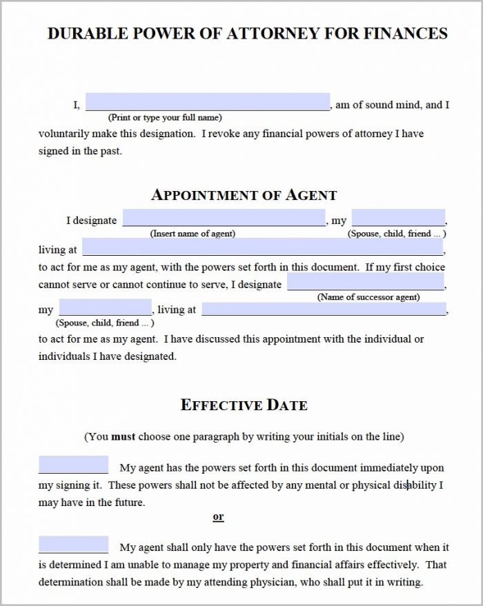 Durable Power Of Attorney Effective On Disability Form