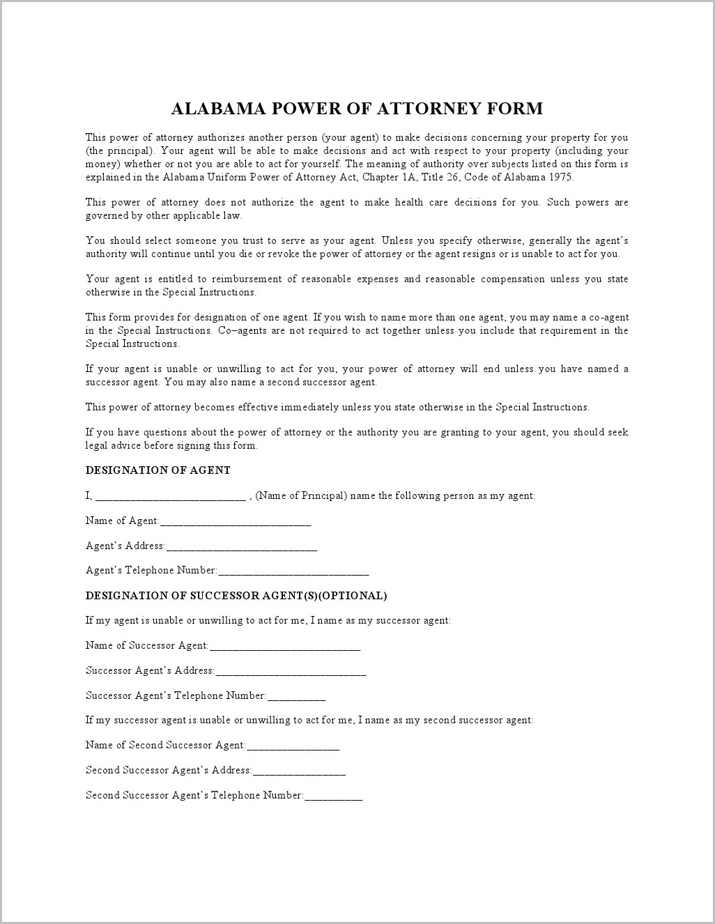 Durable Power Of Attorney Form Delaware