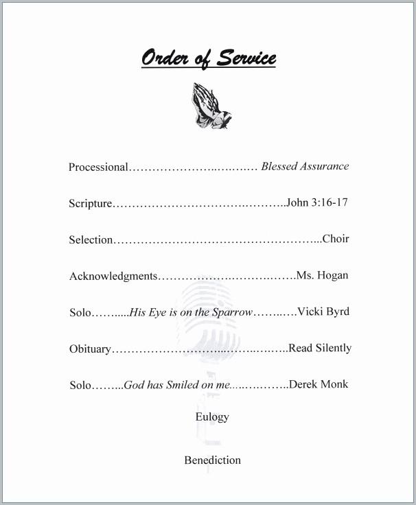 Editable Funeral Program Template