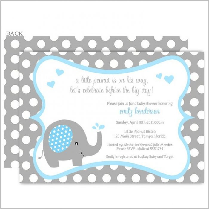 Elephant Baby Shower Invitations Boy Template