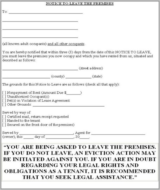 Eviction Notice Form Ohio