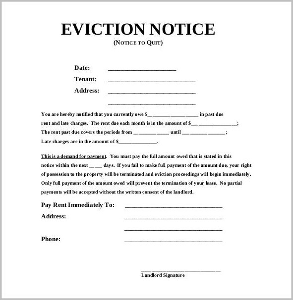 Eviction Notice Template Doc