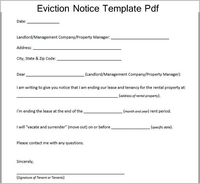 Eviction Notice Template Pdf