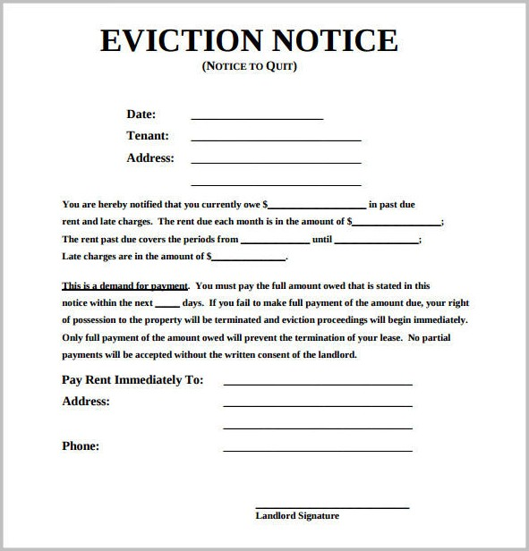Eviction Notice Template South Africa Pdf