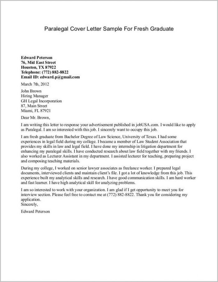 Example Of Cover Letter For Resume Fresh Graduate