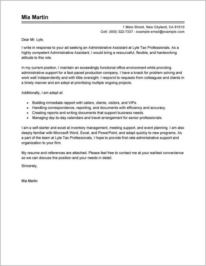 Examples Of Resume Cover Letters For Administrative Assistants