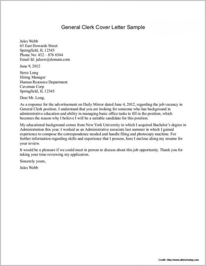 Examples Of Resume Cover Letters Generic Examples