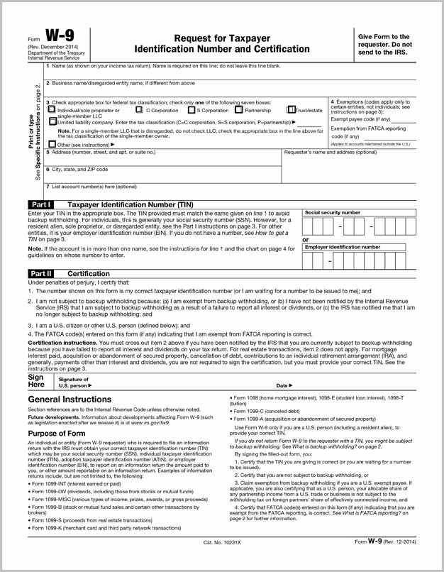 Fillable Pdf Version Of Irs W 9 Form