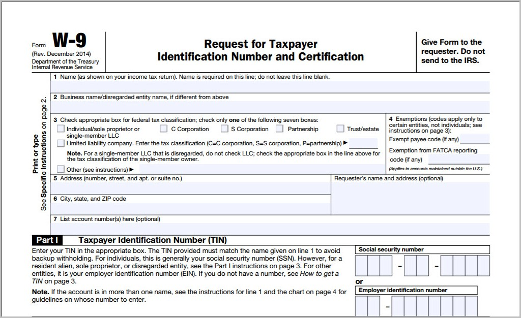 Fillable W 9 Form Irs