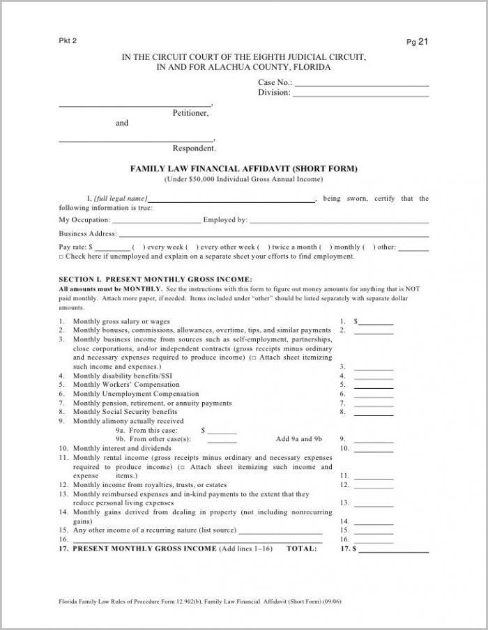 Florida Divorce Forms Financial Affidavit