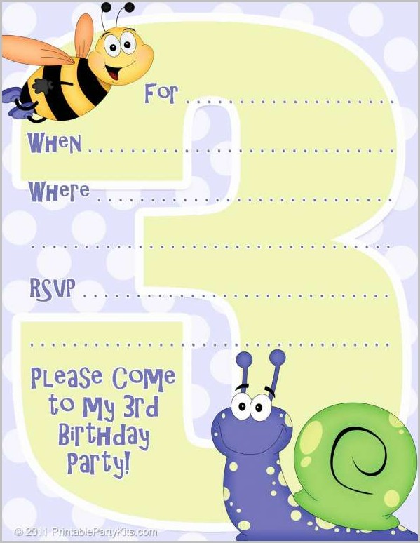 Free 3rd Birthday Invitation Templates