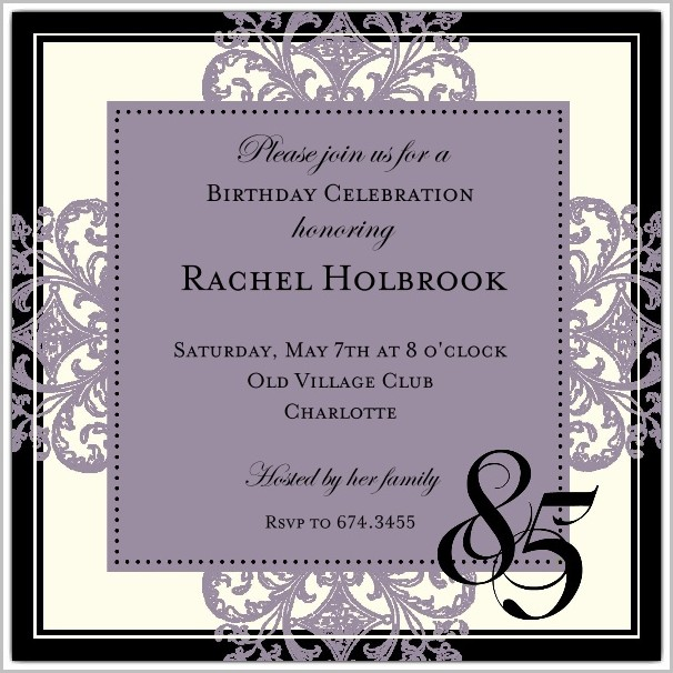 Free 85th Birthday Invitation Templates