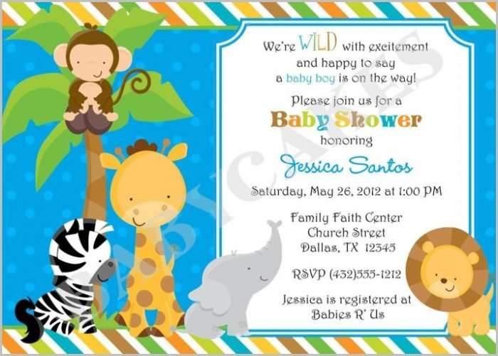 Free Baby Shower Invitation Templates Jungle Animals