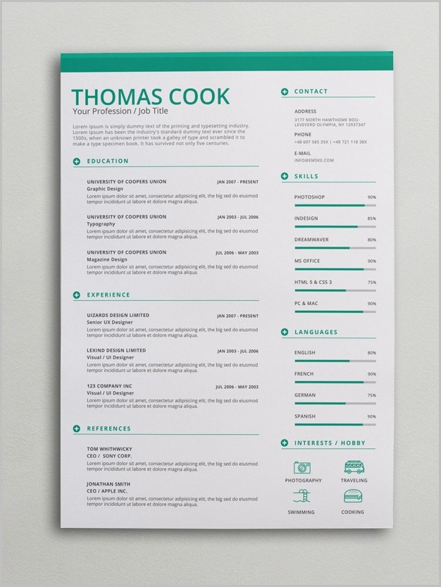Free Creative Resume Templates Docx