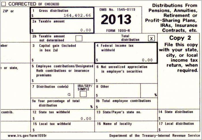 Free Printable 1099 R Form