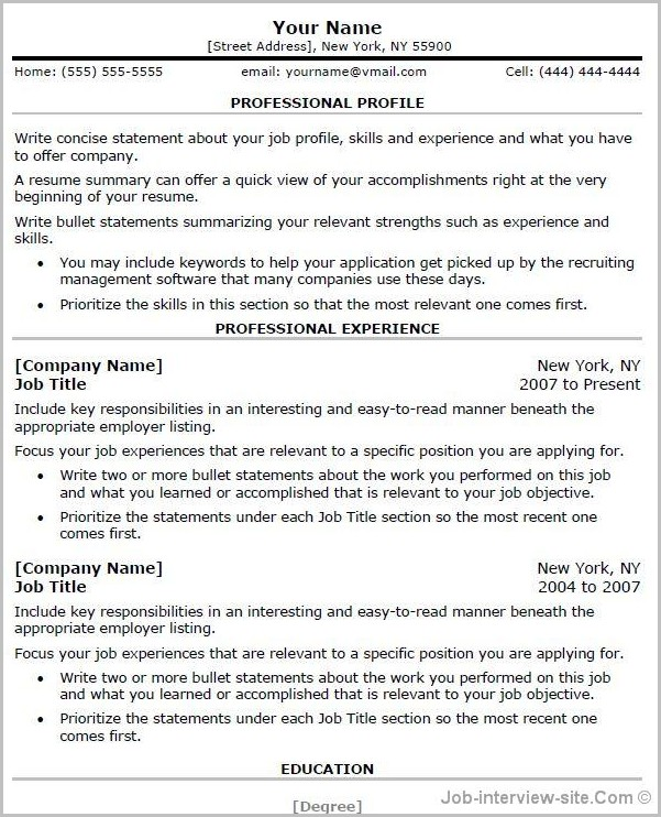 Free Professional Resume Templates For Microsoft Word