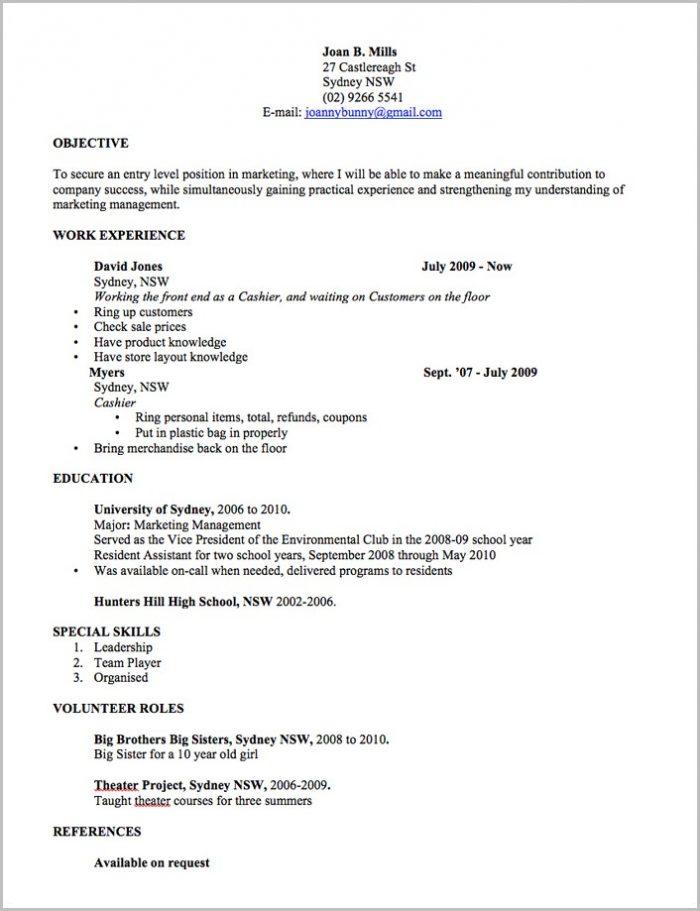 Free Resume Templates Word Australia