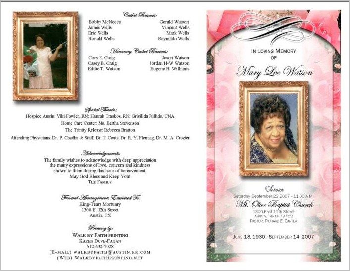 Funeral Program Booklet Template