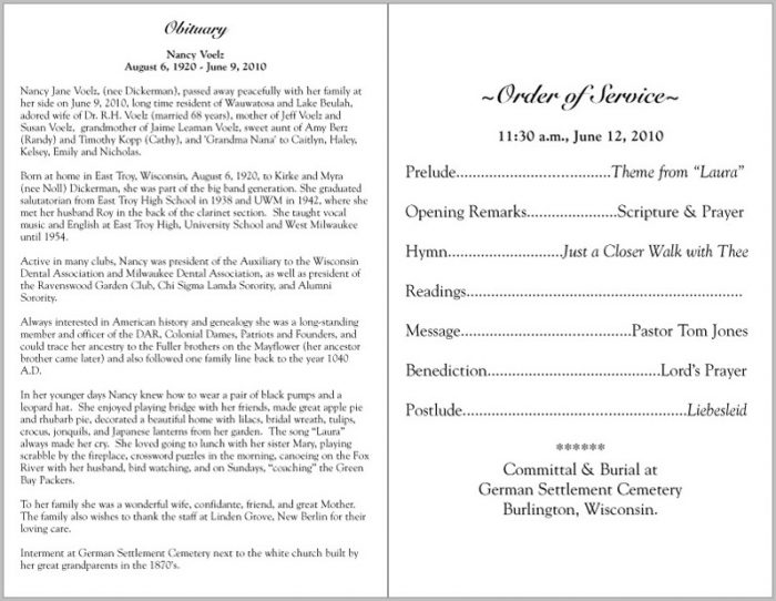 Funeral Program Samples Wordings