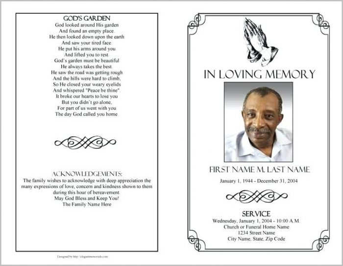 Funeral Program Template For Word