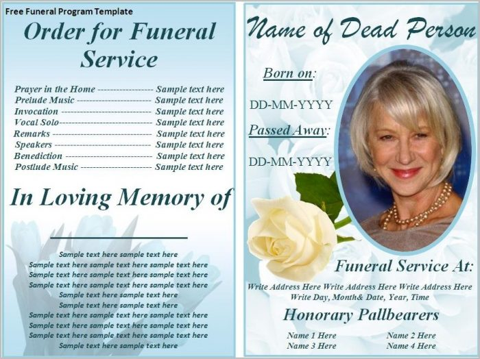 Funeral Program Template Word 2010