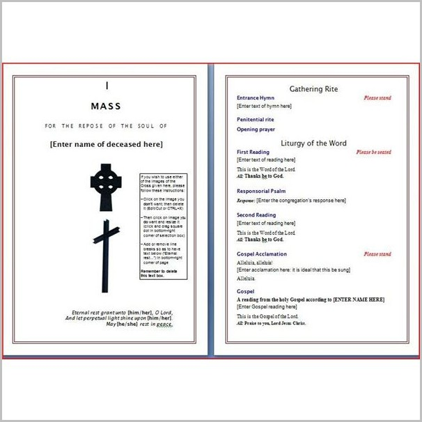 Funeral Program Template Word Download