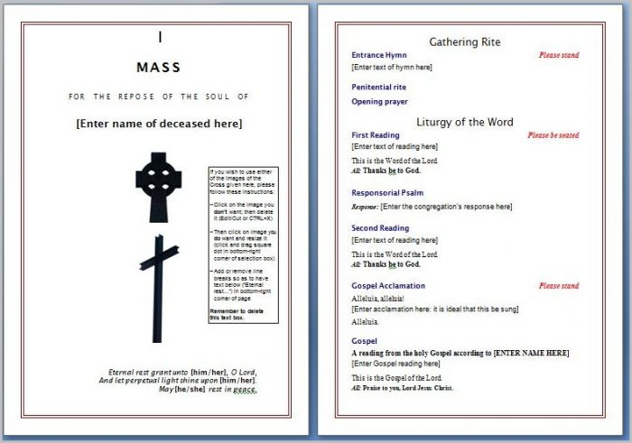 Funeral Program Template Word Free