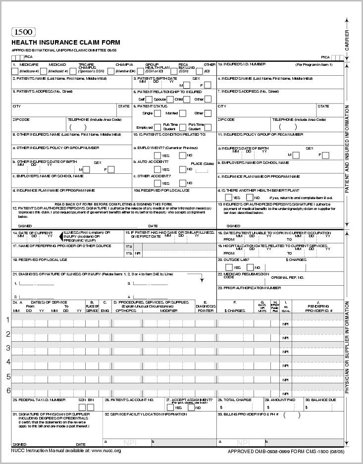 Hcfa 1500 Form Fillable