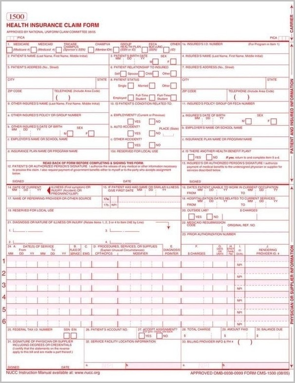 photo relating to Cms 1500 Form Printable known as Hcfa 1500 Style Printable Kind : Resume Illustrations