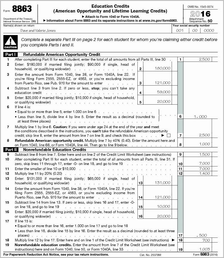 Irs 1040 Form 8863 Form Resume Examples