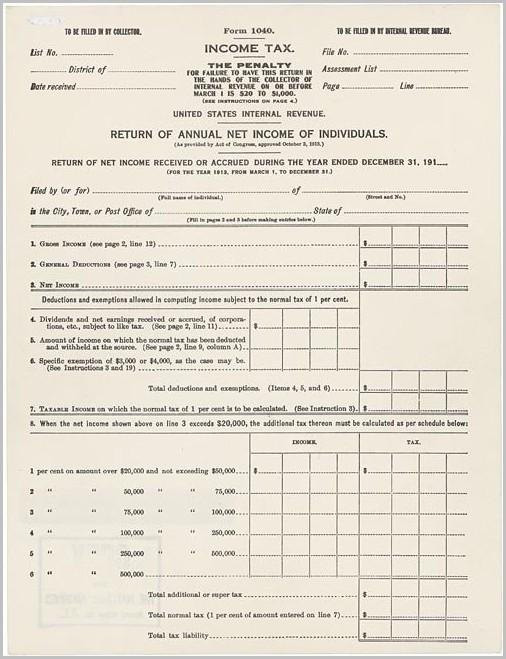 Irs Form 1040 History