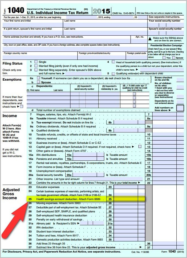 Irs Form 1040 Hsa Deduction