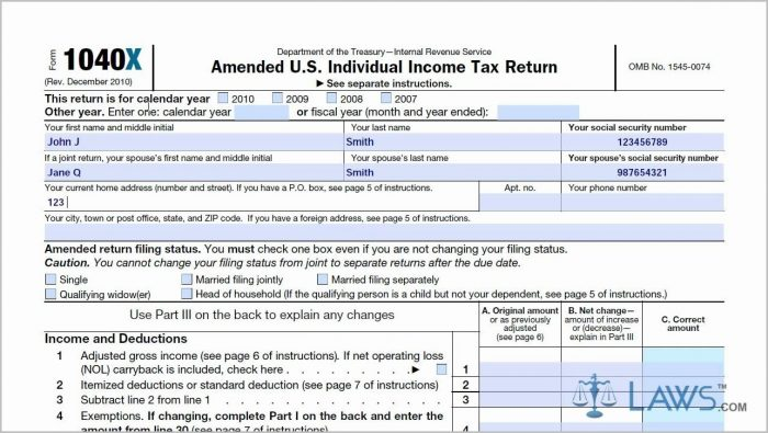 Irs Form 1040x Instructions