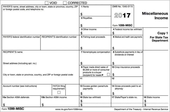 Irs Form 1099 Misc 2016 Fillable
