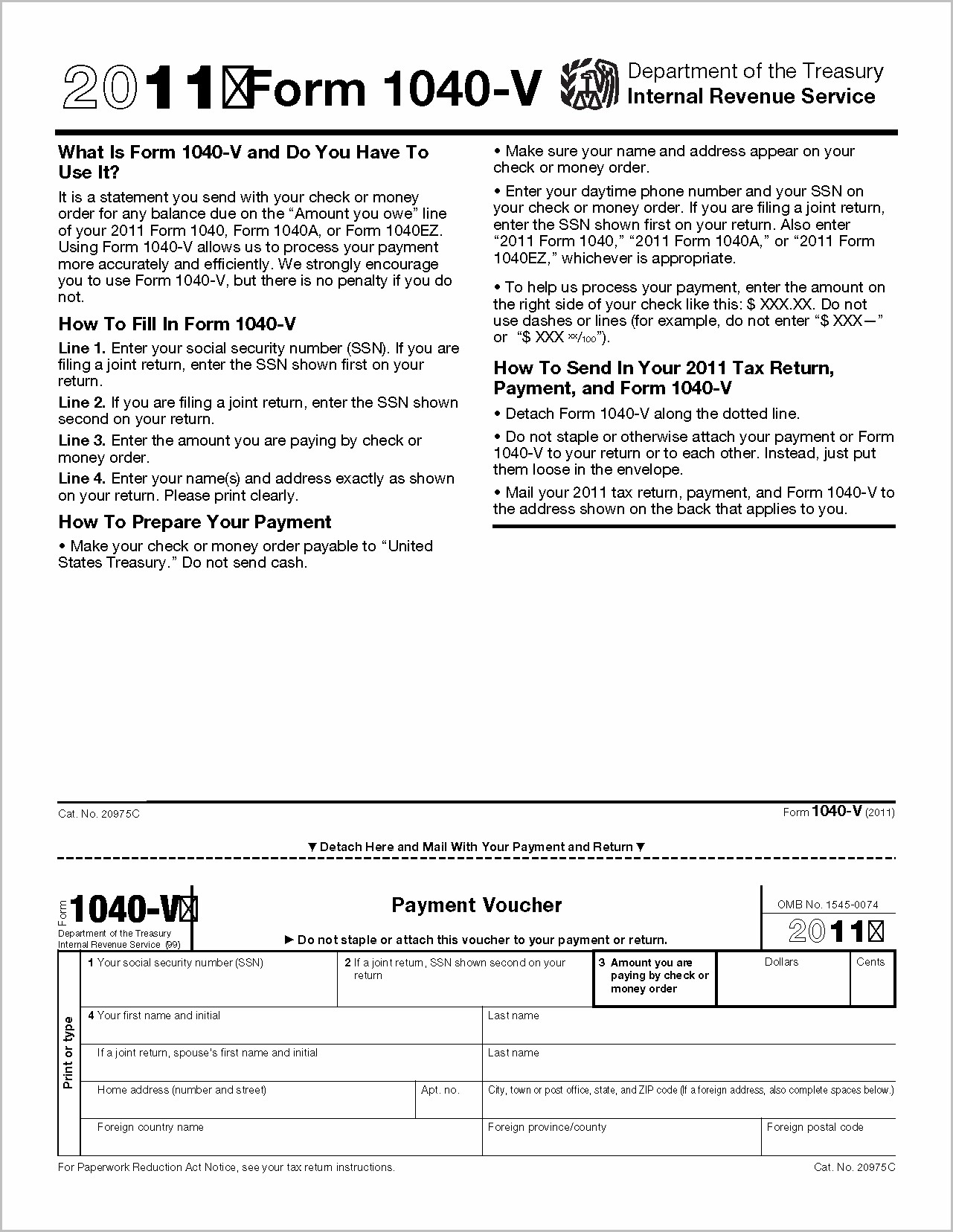 Irs Forms 1040 V