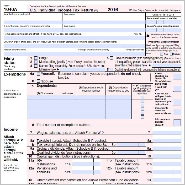Irs Forms 1040a 2016 Form : Resume Examples