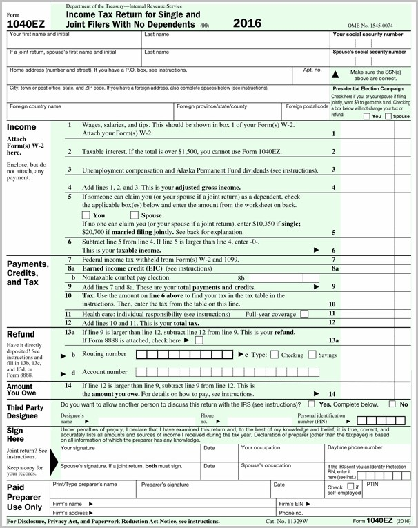 Irs Forms 1040ez 2017